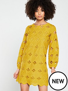 river-island-river-island-laser-cut-swing-dress--yellow