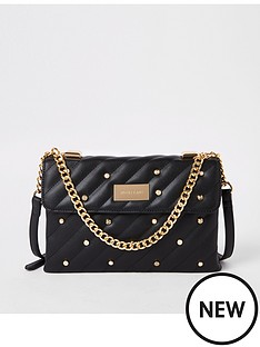 c081491293 River Island River Island Pearl Detail Quilted Bag - Black