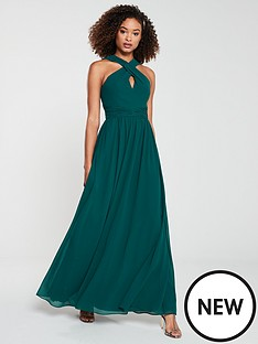 v-by-very-bridesmaid-twist-front-maxi-dress-green