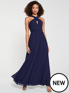v-by-very-bridesmaid-twist-front-maxi-dress-navy