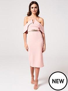 f66eb3a7801 Girls on Film Bardot Bodycon Midi Dress - Peony Pink