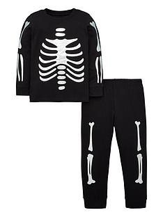 v-by-very-foil-skeleton-pyjama-set-black