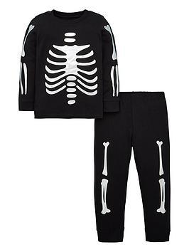 v-by-very-foil-skeleton-pyjama-set-black