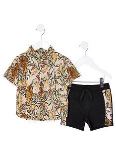 4e2586318832 River Island Mini Mini boys tiger print shirt outfit - pink