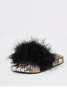 acaf2a930d37 River Island Girls Snake Print Faux Fur Sliders - Black