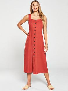 warehouse-linen-button-front-midi-dress-rust