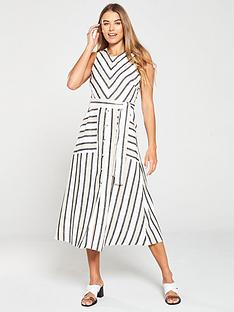warehouse-neutral-stripe-button-front-dress-black