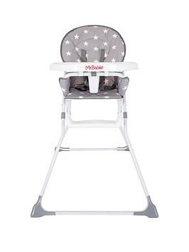 my-babiie-mbhc1gs-grey-stars-compact-highchair