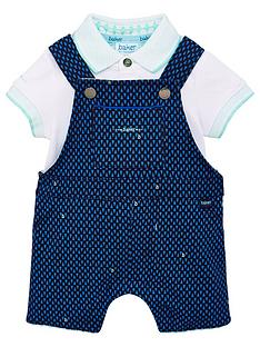 aeb999000 Baker by Ted Baker Baby Boys Geo Dungaree   Polo Set - Navy