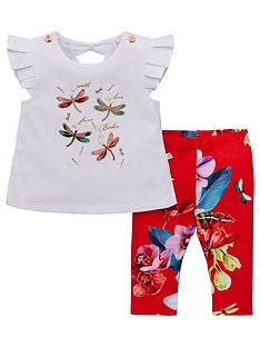 3a6715fd0e0 Baker by Ted Baker Baby Girls Floral Top And Legging Set - Off White