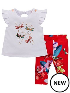 e991105b4 Baker by Ted Baker Baby Girls Floral Top And Legging Set - Off White