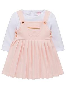 1257ec73ae761 Baker by Ted Baker Baby Girls Ponte Pinafore Dress And Top - Light Pink