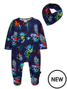 856856177 Baker by Ted Baker Baby Boys Tropical Print Sleepsuit - Navy