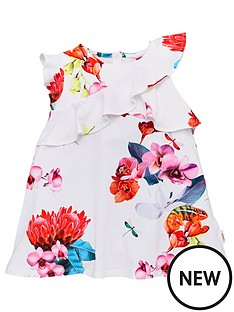 37013deaa341 Baker by Ted Baker Toddler Girls Floral Frill Jersey Dress - Off White