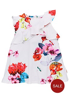 4873ab5d6 Baker by Ted Baker Toddler Girls Floral Frill Jersey Dress - Off White