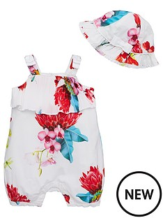 baker-by-ted-baker-baby-girls-plisse-floral-romper-and-hat-off-white