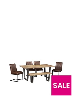 julian-bowen-brooklyn-180-cm-solid-oak-and-metal-table-4-chairs-bench