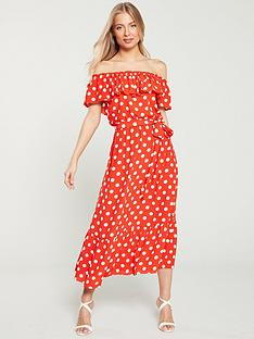 wallis-polka-dot-bardotnbspdress-red