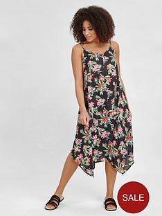 evans-hanky-hem-tropical-print-dress-black