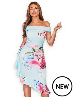 004b775c7c593 Sistaglam Loves Jessica Jessica Wright Floral Bardot Midi Dress - Multi