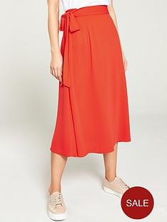 v-by-very-solid-crepe-tie-waist-skirt-orange