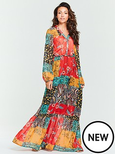 4dad2b9964 Michelle Keegan Patchwork Wrap Maxi Dress - Printed