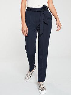 v-by-very-tie-waist-taperednbsptrouser-navy