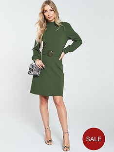v-by-very-belted-sleeve-detail-dress-khaki