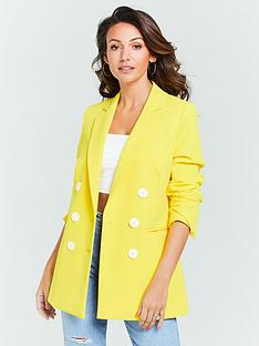 c911056316 Michelle Keegan Oversized Double Breasted Blazer - Yellow