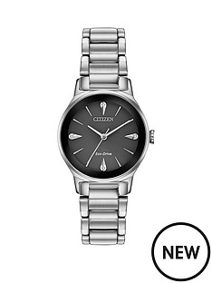 citizen-citizen-eco-drive-black-and-diamond-dial-stainless-steel-bracelet-ladies-watch
