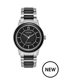 citizen-citizen-eco-drive-black-dial-two-tone-black-and-stainless-steel-bracelet-ladies-watch