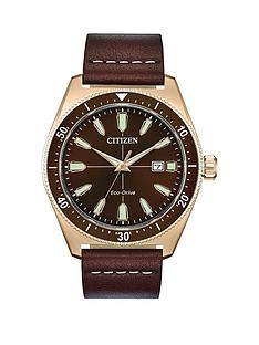 citizen-citizen-eco-drive-brown-sunray-and-rose-gold-detail-date-dial-brown-leather-strap-mens-watch
