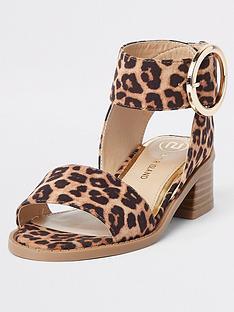 e97495617a78 River Island Girls leopard print block heel sandals - brown