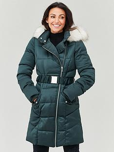 michelle-keegan-premium-longline-padded-coat-forest-green