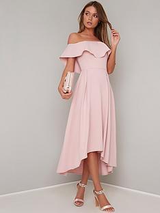 bbd404d723e Chi Chi London Wanda Bardot Frill Midi Dress - Mink
