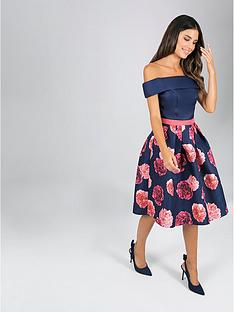 ba4e619f257 Chi Chi London Dilina 2-in-1 Bardot Dress - Navy