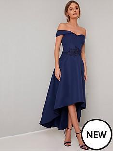 54f4c8eed33 Chi Chi London Amour Bardot High Low Dress - Navy