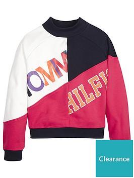 tommy-hilfiger-girls-colour-block-logo-crew-sweatshirt-navypink