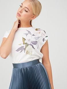 ted-baker-sellie-opal-printed-woven-front-tee-white