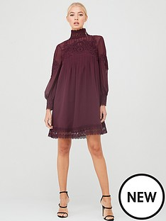 ted-baker-anneah-high-neck-lace-long-sleeve-tunic-dress-deep-purple