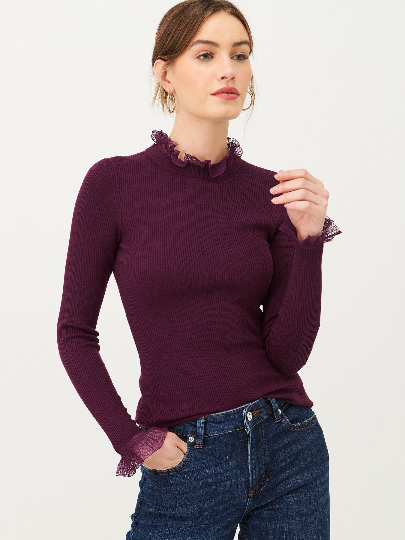 Ladies Off Shoulder Chunky Knitted Peplum Jumper Womens Ruffle Frill Fancy Top