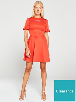 ted-baker-calizee-lace-insert-skater-dress-red