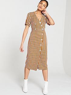 d575a4af682 River Island River Island Stripe Button Detail Midi Dress- Brown