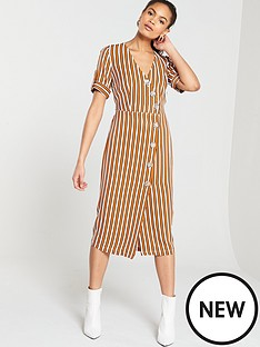 bcd65db9e0 River Island River Island Stripe Button Detail Midi Dress- Brown