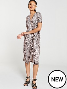 96a12629927 River Island River Island Leopard Print Button Detail Midi Dress- Brown