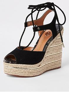 35d70b52aad River Island Rope Tie Up Wedge- Black