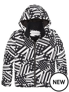 9e9c9459b Calvin Klein Jeans Boys Flag Print Hooded Jacket - Black