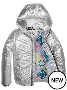 c868af2fbb Calvin Klein Jeans Girls Silver Hooded Bomber Jacket - Silver