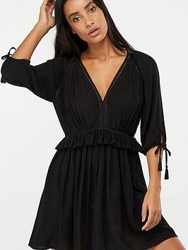 e77e68ad28 Accessorize Long Sleeved Ruffle Beach Dress - Black ...