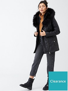 v-by-very-faux-leather-fur-trim-parka-black
